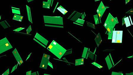 Green Credit cards on black background