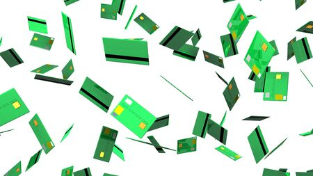 Green Credit cards on white background