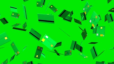 Green Credit cards on green background 写真素材 - 131797446