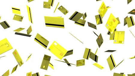 Yellow Credit cards on white background