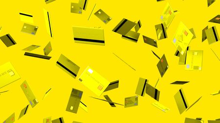 Yellow Credit cards on yellow background 写真素材