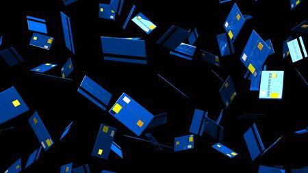 Blue Credit cards on black background 写真素材 - 131797440
