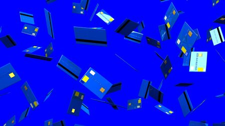 Blue Credit cards on blue background 写真素材 - 131797442