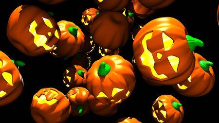 Jack O Lanterns on black background.3D render illustration..