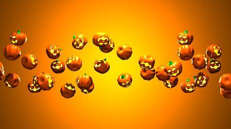 Jack O Lanterns on orange background.3D render illustration.. 写真素材