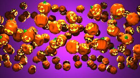 Jack O Lanterns on purple background.3D render illustration..