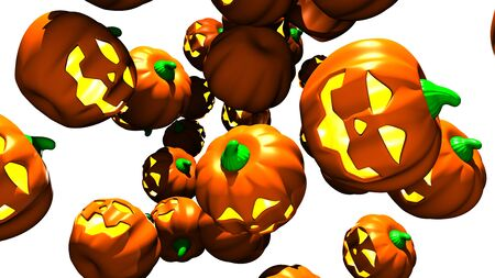 Jack O Lanterns on white background.3D render illustration.. 写真素材
