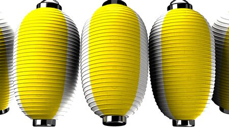 Yellow and white paper lanterns on white background