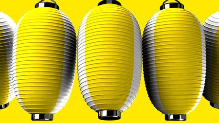 Yellow and white paper lanterns on yellow background