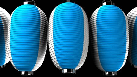 Blue and white paper lanterns on black background 写真素材 - 131796906