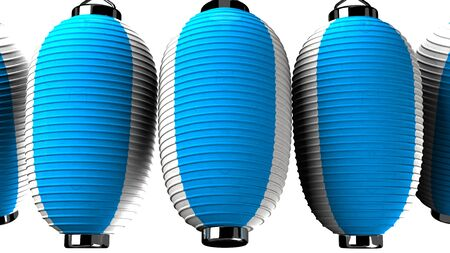 Blue and white paper lanterns on white background 写真素材