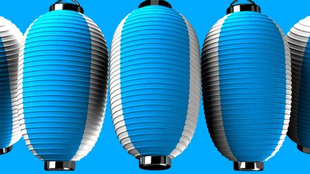 Blue and white paper lanterns on blue background 写真素材