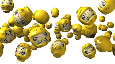 Yellow daruma dolls on white background 写真素材 - 131796740