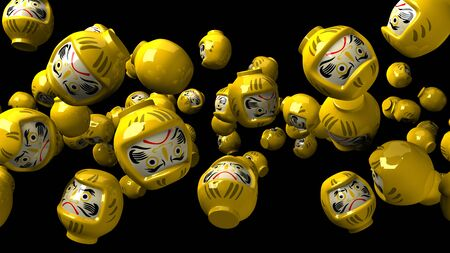 Yellow daruma dolls on black background 写真素材 - 131796916