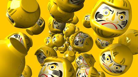 Yellow daruma dolls on yellow background 写真素材