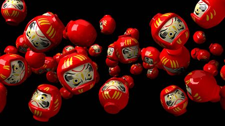 Red daruma dolls on black background.3D render illustration. 写真素材 - 131797461