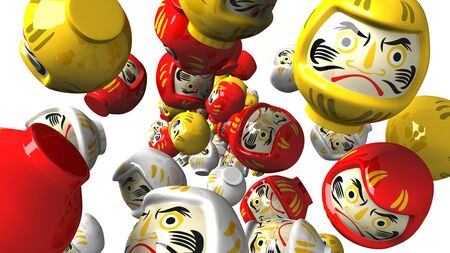 Daruma dolls on white background.3D render illustration.