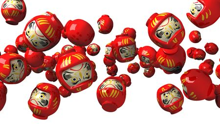 Red daruma dolls on white background.3D render illustration. Stock Photo
