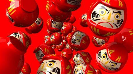 Red daruma dolls on red background.3D render illustration. 写真素材 - 131796391
