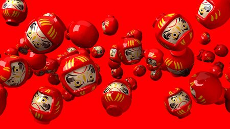 Red daruma dolls on red background.3D render illustration. Stock Photo