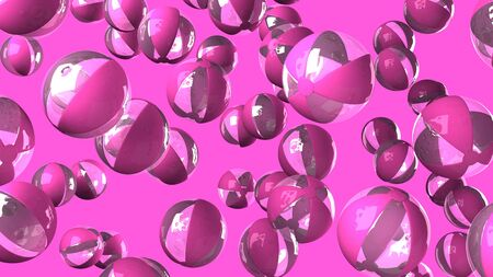 Pink beach balls on pink background