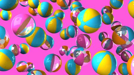 Colorful beach balls on pink background 写真素材