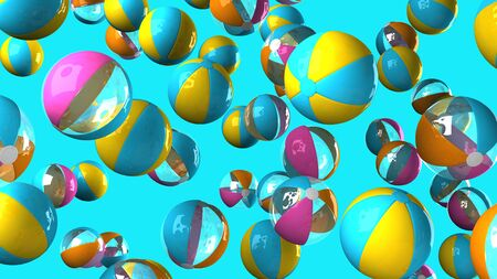 Colorful beach balls on blue background 写真素材 - 132725218