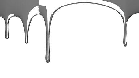 Silver liquid on white background