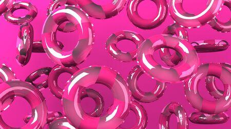 Pink swim rings on pink background
