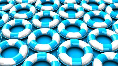Blue swim rings on blue background