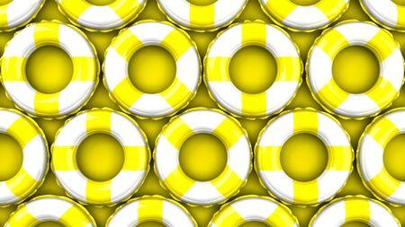 Yellow swim rings on yellow background