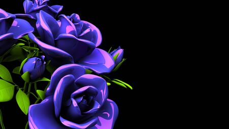 Blue Roses Bouquet On Black Text Space 写真素材