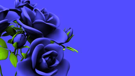 Blue Roses Bouquet On Blue Text Space 写真素材