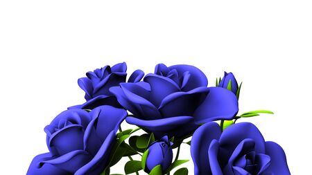 Blue Roses Bouquet On White Text Space
