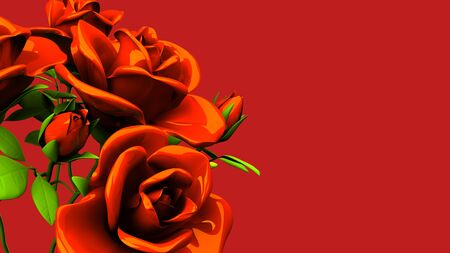 Red roses  bouquet on red text space 写真素材