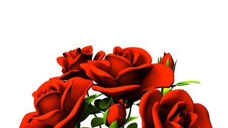 Red roses  bouquet on white text space