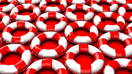 Red swim rings on red background
