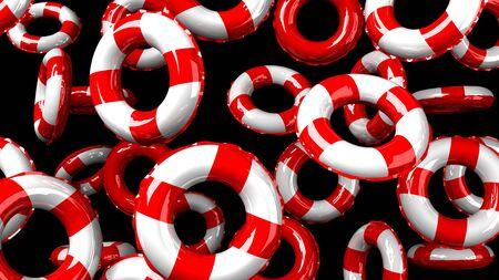 Red swim rings on black background
