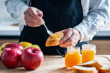 Apples and homemade apple jams 写真素材