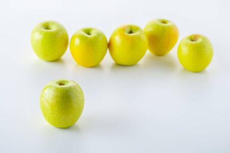 Green apples on white background 写真素材