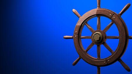 Rudder on blue background.3D render illustration.