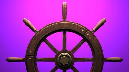Rudder on purple background.3D render illustration. 写真素材