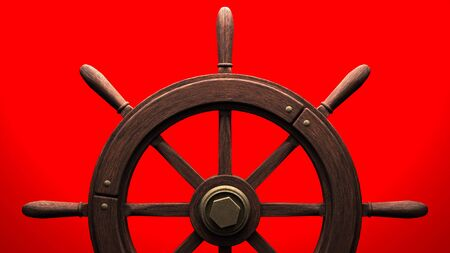 Rudder on red background.3D render illustration.