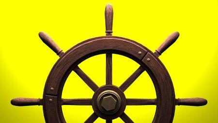 Rudder on yellow background.3D render illustration.