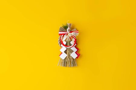 Japans New Year Ornament on Yellow Background
