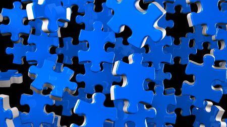 Blue Jigsaw Puzzle On Black Background