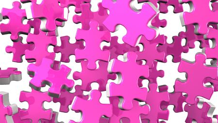 Pink Jigsaw Puzzle On White Background