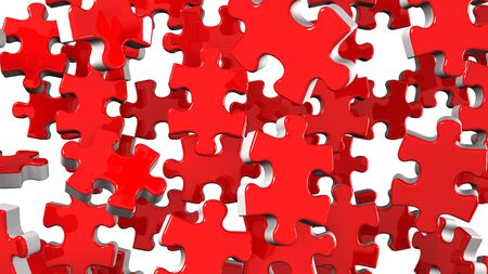 Red Jigsaw Puzzle On White Background