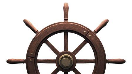 Rudder on white background.3D render illustration. 写真素材