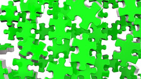 Green Jigsaw Puzzle On White Background 写真素材